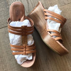 UGG Tan Leather Wedge Sandals Preloved!